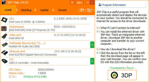3DP Chip screenshot 1 - The main window of 3DP Chip allows users to view and download the required drivers.