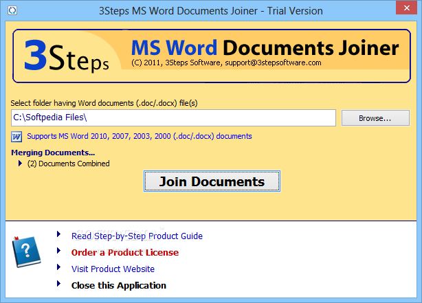 Download 3Steps MS Word Documents Joiner 2 3