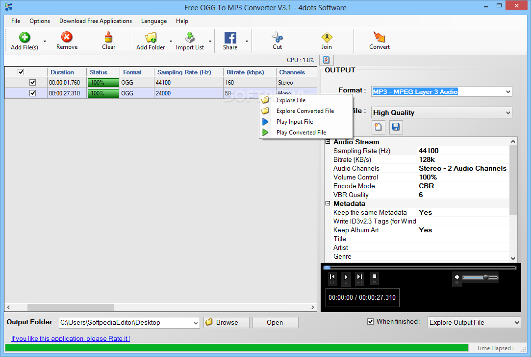 Download Free OGG To MP3 Converter 3 3