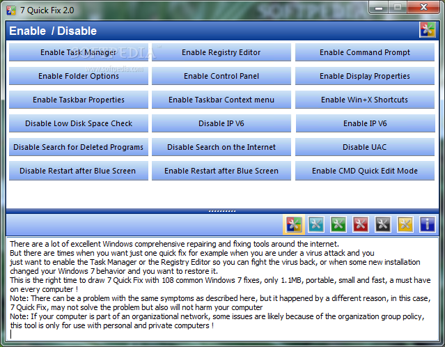 Download 7 Quick Fix 2.0 7 Quick Fix - 7 Quick Fix is a handy and reliable utility designed to fix  ...