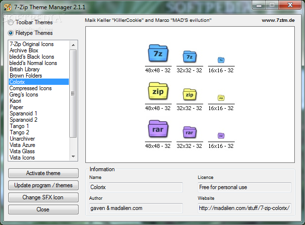 Download 7 Zip Theme Manager 2 1 1