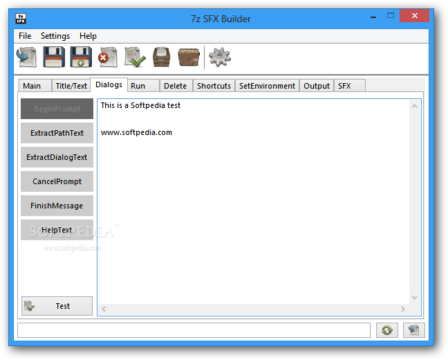 7z SFX Builder screenshot 3 - The Dialogs tab can be used to input the ExtractPathText, ExtractDialogText, and HelpText.