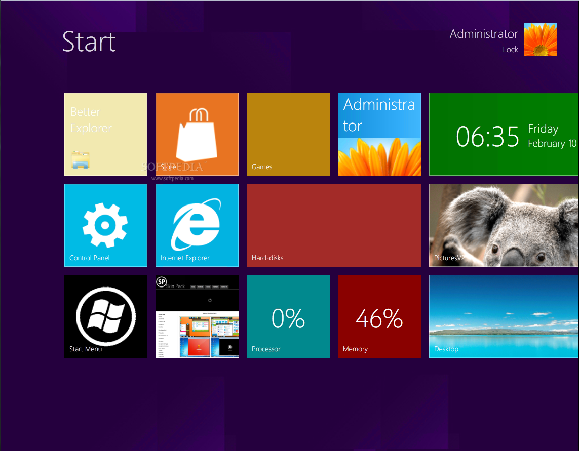 8 Skin Pack screenshot 1 - This skin pack will convert the look and feel of your OS to appear like Windows 8.