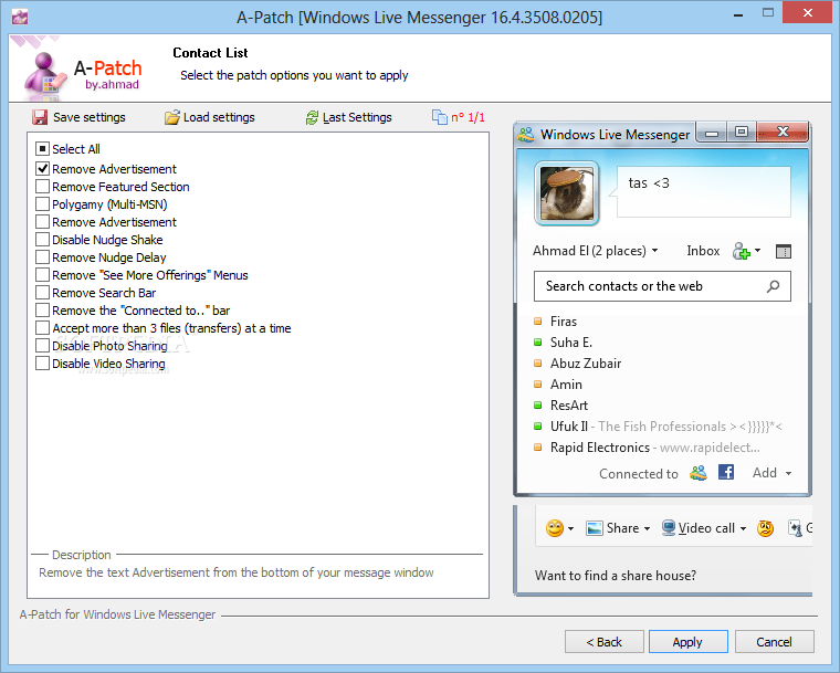 ������ ��� ���� �� ������ 2012  A-Patch for Windows Live Messenger