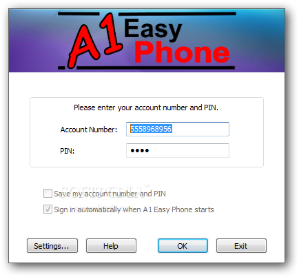 A1 Easy Phone screenshot 1 - The main window of the application allows you to enter the login information in order to use the dialer.