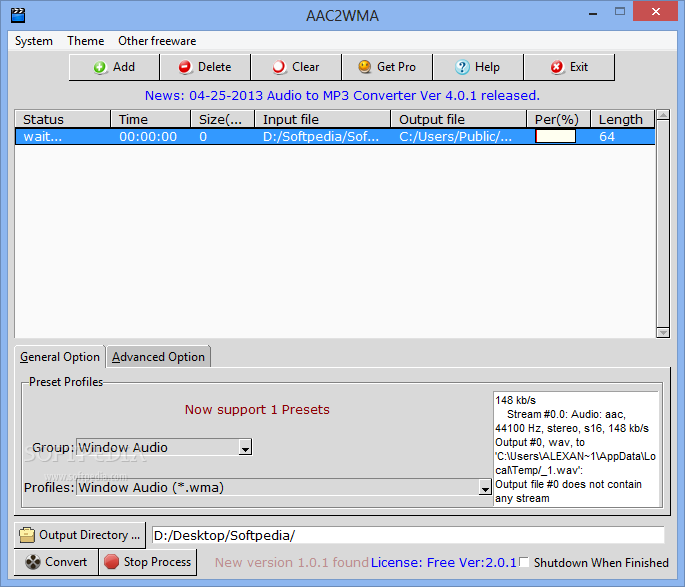 Convert multiple aac files to mp3 files software 7.0