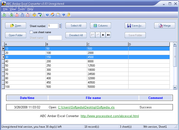 Abc amber excel converter.