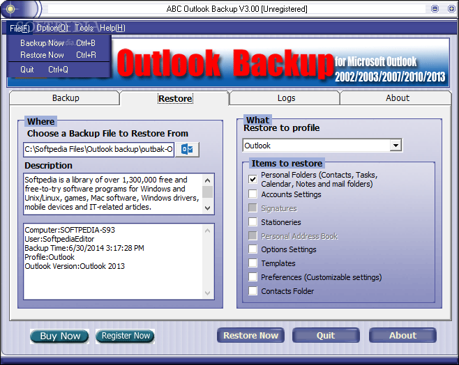 Download ABC Outlook Backup 3 40