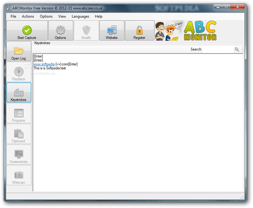 ABCMonitor screenshot 1 - ABCMonitor is a useful application that enables you to log keystrokes and monitor the opened programs and clipboard contents.