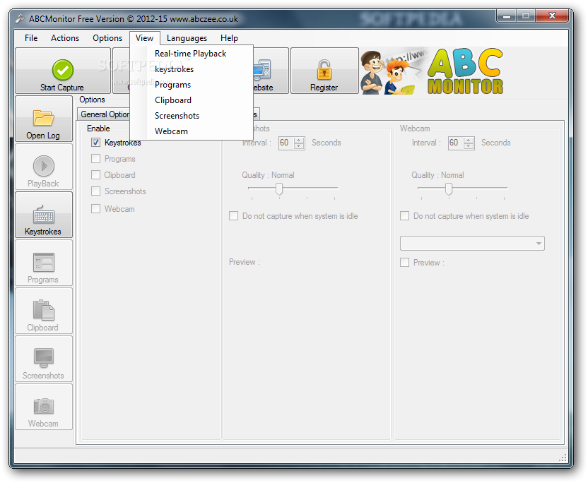 ABCMonitor screenshot 2 - From this menu, you can access the opened programs, the screenshots and the webcam recordings.