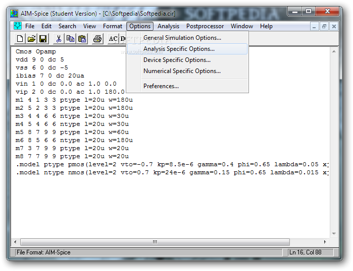 Download aim-spice student 5. 9.