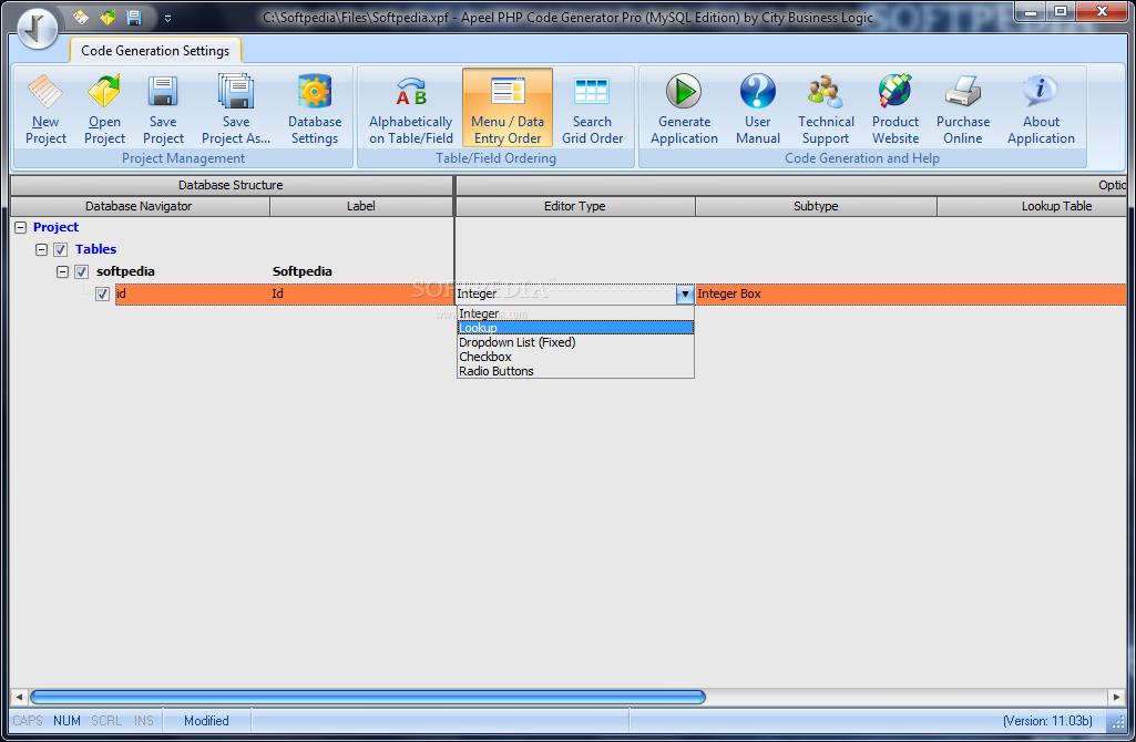 Download APEEL PHP Code Generator Pro (MySQL Edition) 11 07d