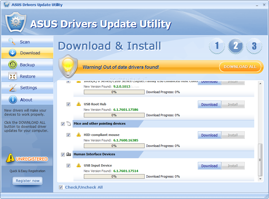 ASUS Drivers Update Utility  This window enables you to choose which
