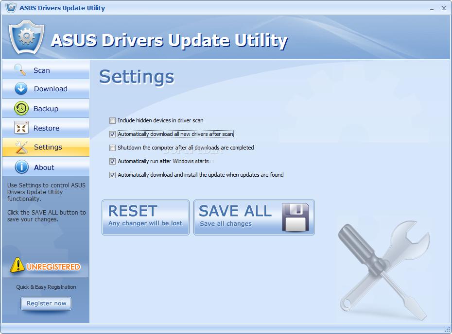 asus driver download utility license key
