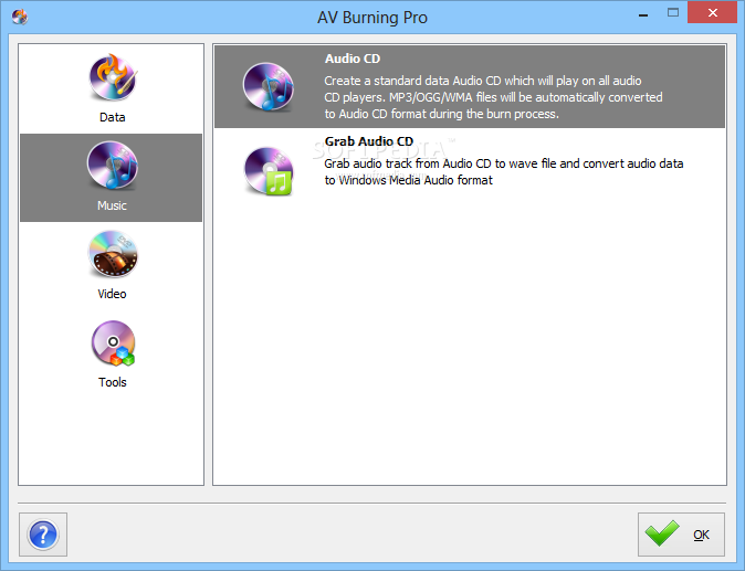 AV Burning Pro screenshot 2 - AV Burning Pro allows users to create audio music CDs or to Grab the contents of audio CDs