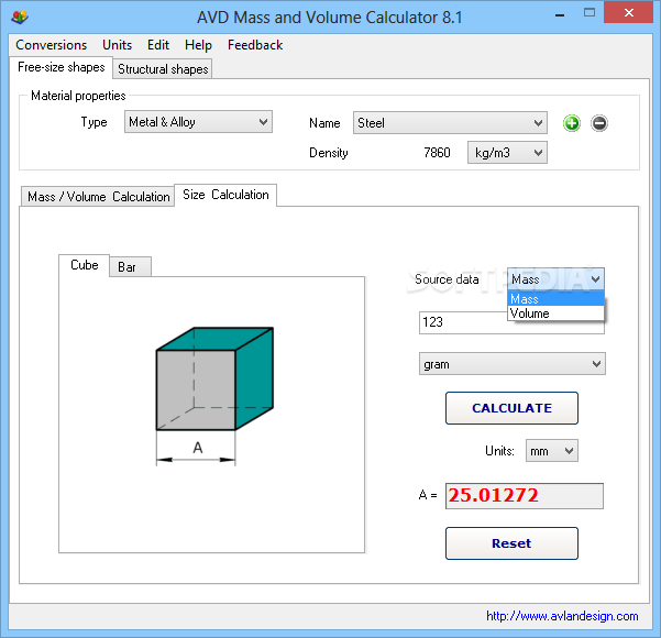 Avd Mass And Volume Calculator Download