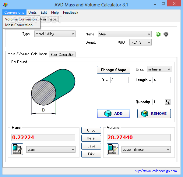 Download AVD Mass and Volume Calculator 8 1