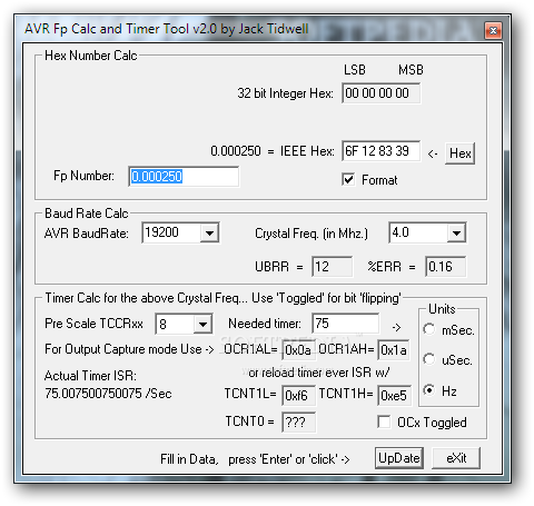 Download AVR Fp Calc and Timer Tool 2 0