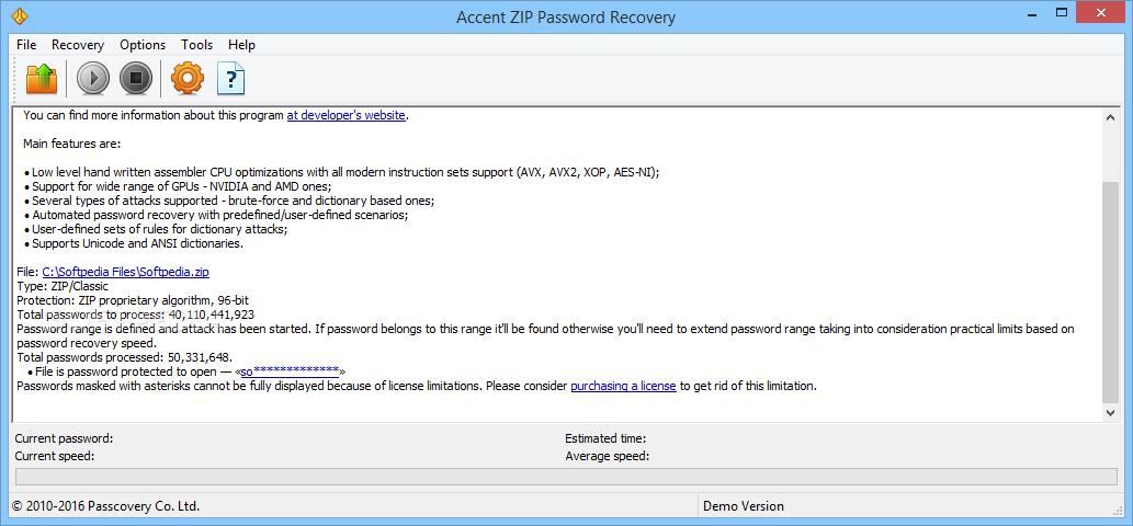 Download Accent ZIP Password Recovery 5 0 Build 3778