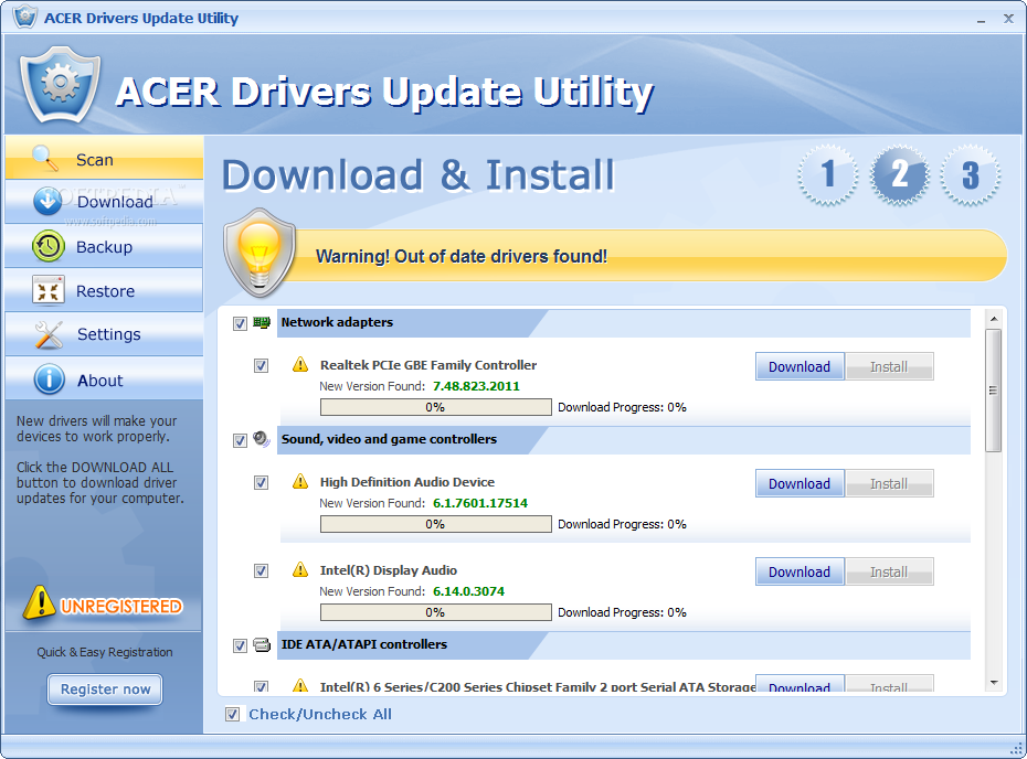 Acer Drivers Update Utility  The application allows you to select the