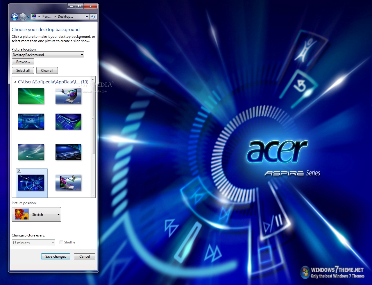 acer windows 7 theme this is a sample from what this theme pack will display