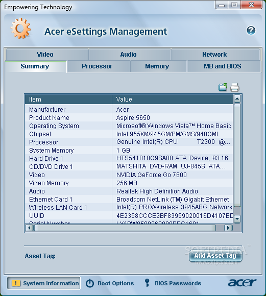 acer esettings management software