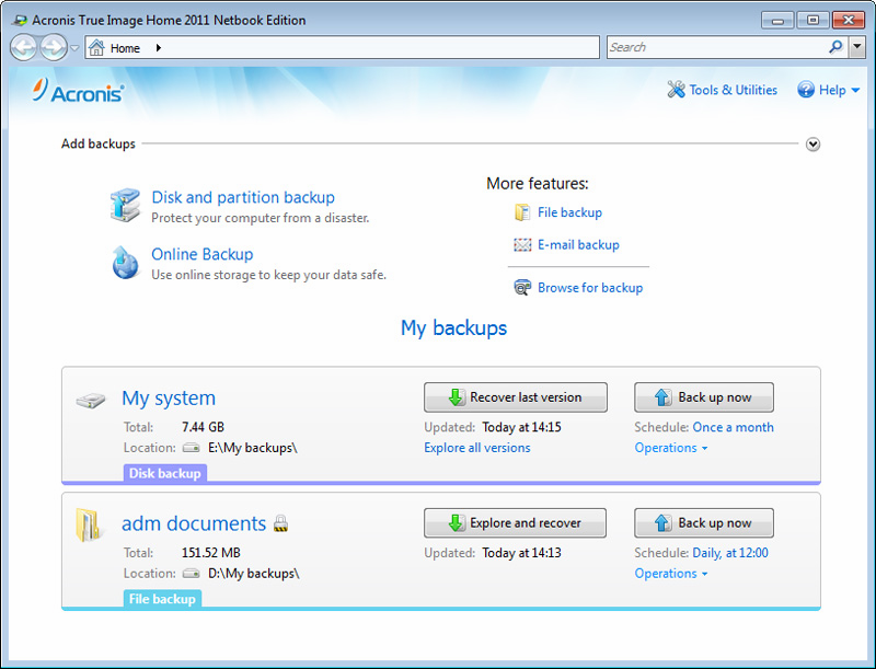 Acronis true image home 2011 ver 14 (with key) program download.