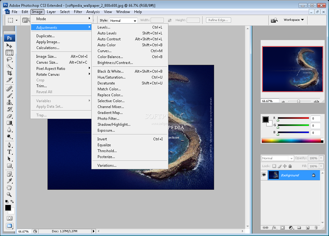 Adobe Photoshop CS3 Extended screenshot 2 - The Image menu provides ...