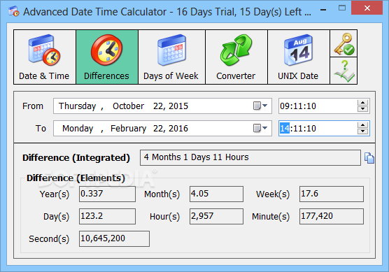 Advanced Date Time Calculator View The Difference In Years Months Weeks