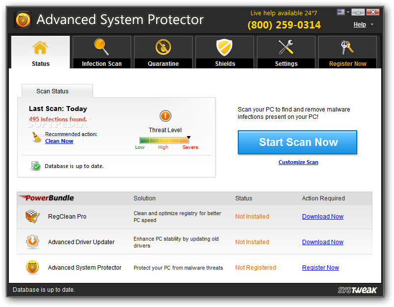 Advanced System Protector screenshot 1 - Advanced System Protector will provide users with an AntiSpyware with latest spyware definitions and realtime protection guards