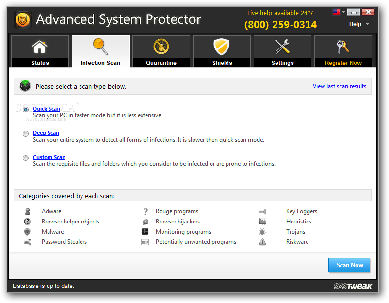 Advanced System Protector screenshot 2 - The Infection Scan tab section will offer a list of options like Quick / Deep or Custom Scan