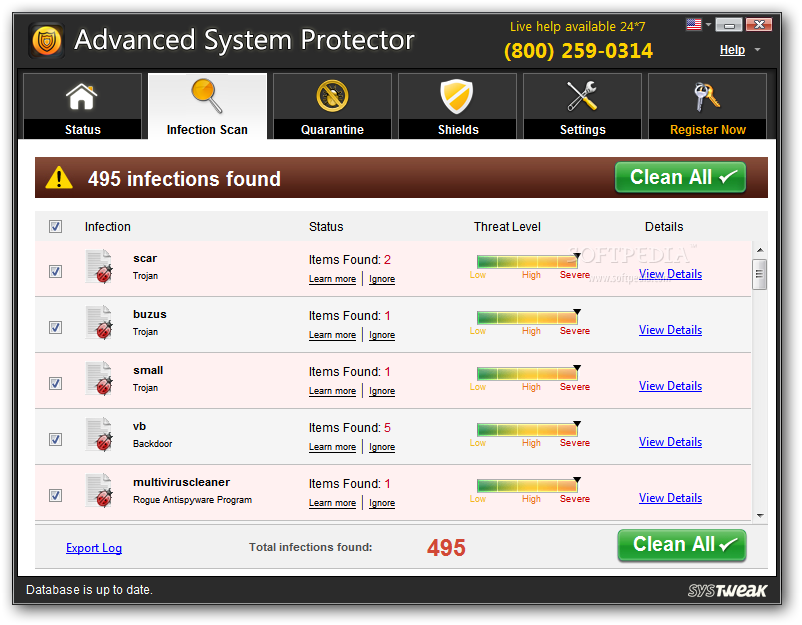 Advanced System Protector screenshot 3 - Users will be given detailed information about he found threats after each scanning process