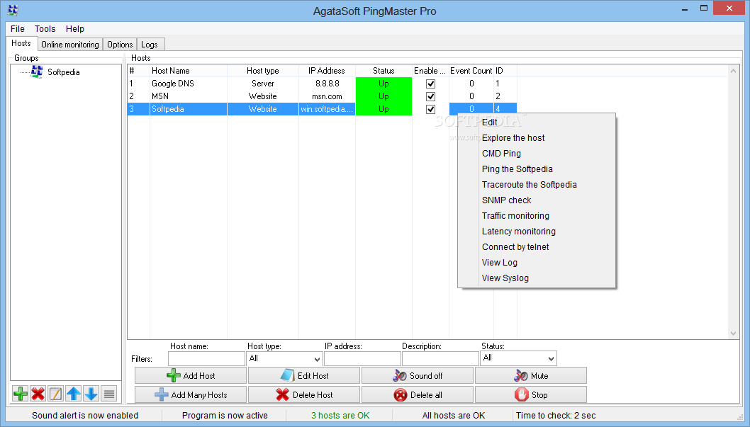 Agatasoft PingMaster Pro screenshot 1 - Agatasoft PingMaster Pro is an advanced application designed for monitoring network connections, servers and routers.