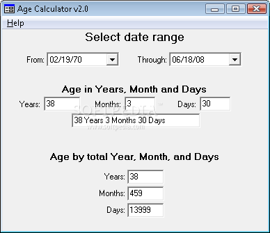 Date range calculator