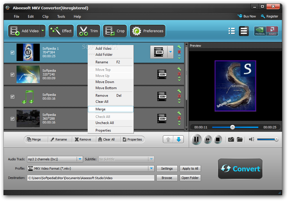 Aiseesoft MKV Converter DISCOUNT: 25% OFF! screenshot 1 - In the main windo