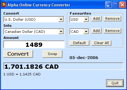 Alpha Online Currency Converter Screenshot 1