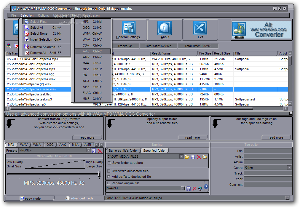 how to change an audio file to wav