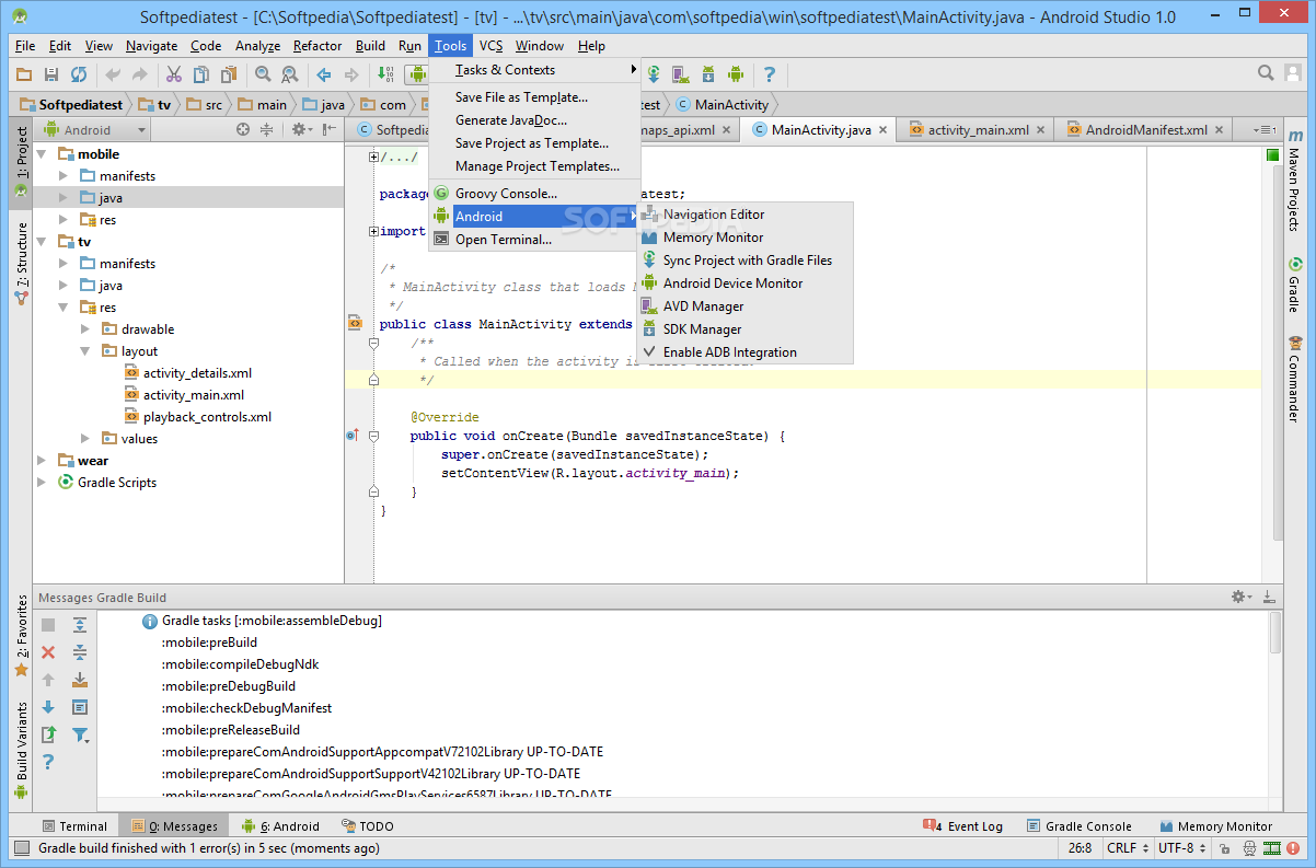 Android Studio - Extra Android tools let you open the navigation ...