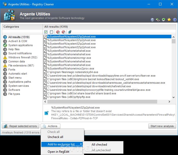 argente registry cleaner 1.5.5.2 gratis