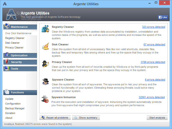 Argente Utilities screenshot 1 - You can perform a full-system scan and view the results into the main window of the application.