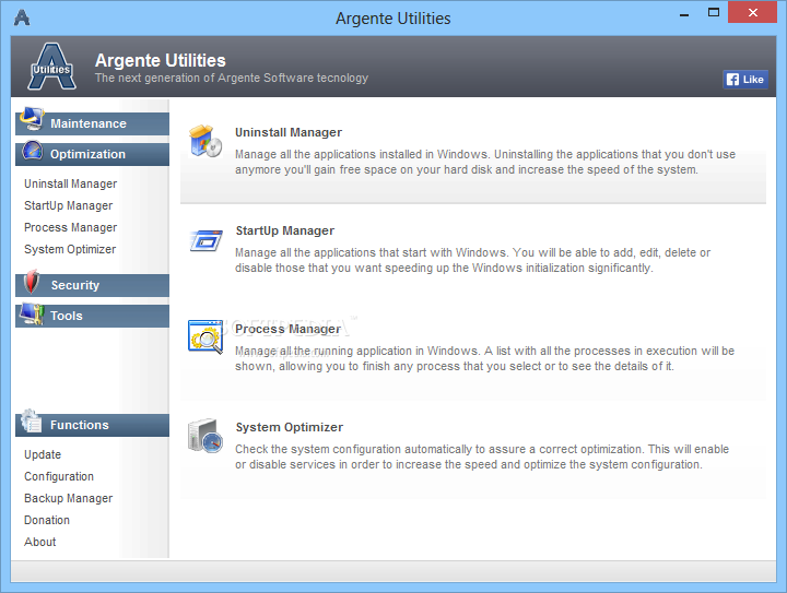 Argente Utilities screenshot 3 - You can optimize your system by making use of the uninstall, startup and process managers.