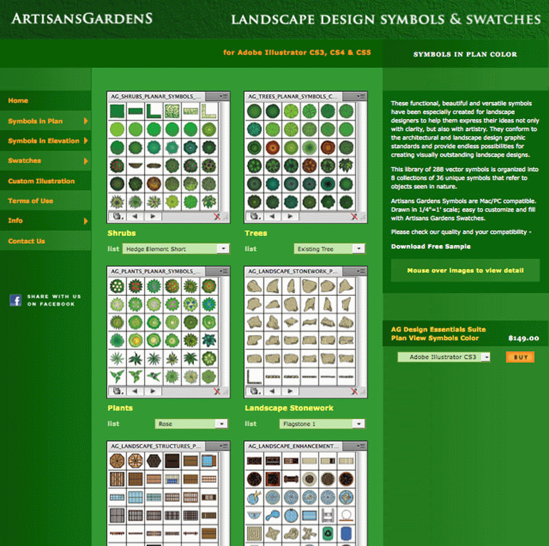 Download Artisans Gardens Landscape Design Symbols In Plan View