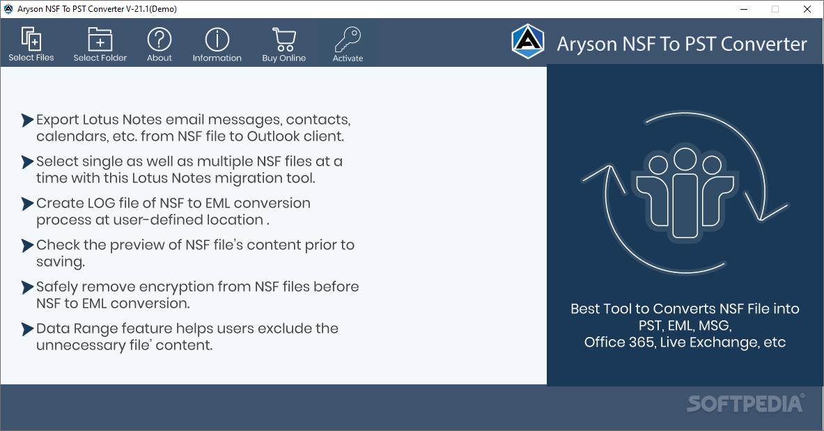Aryson NSF to PST Converter screenshot #0