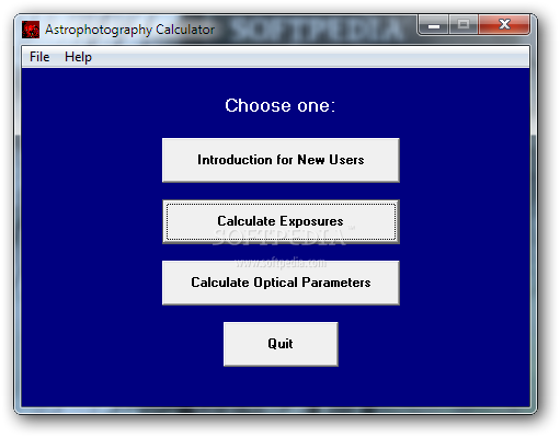 Astrophotography Calculator screenshot 1 - The main window of the application allows you to calculate the exposure and to enter the optical parameters.
