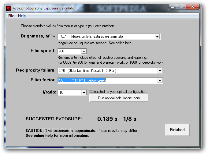 Astrophotography Calculator screenshot 2 - In order to calculate the exposure you need to select the brightness and the film speed.