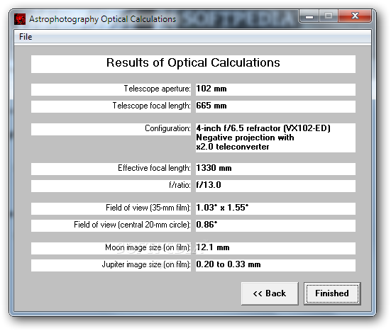 Astrophotography Calculator screenshot 6 - The results of the optical calculation such as the field of view or the effective focal length are displayed in this separate window.