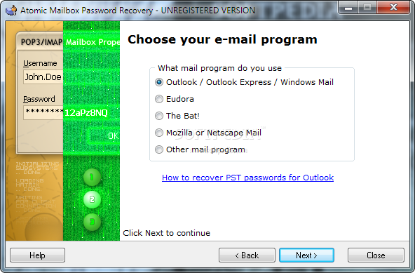 Download Atomic Mailbox Password Recovery 2.90