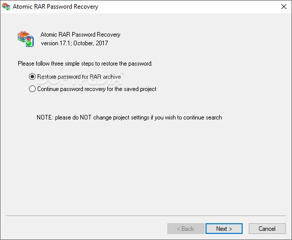 Download Atomic RAR Password Recovery 17 1