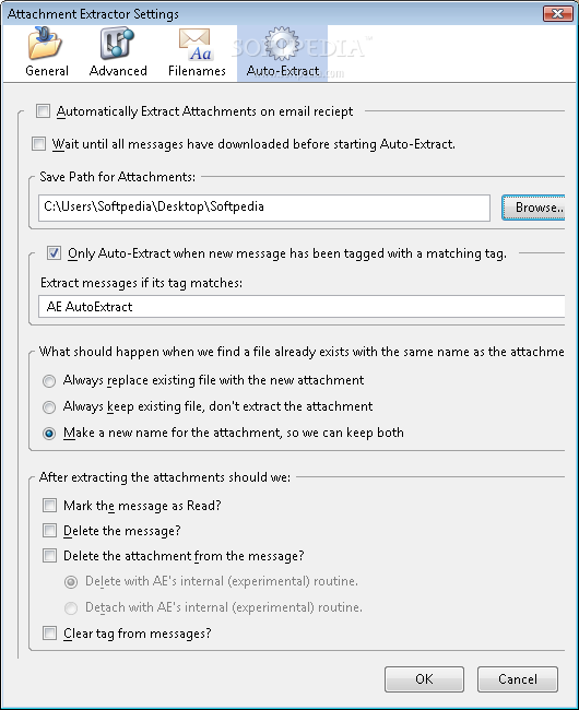 how to change attachment settings