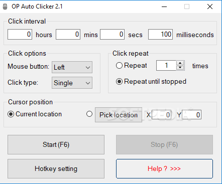how to use op auto clicker 2.1